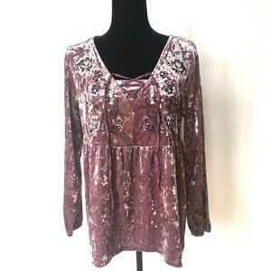 NW)T Style & Co Purple Crushed Velvet Lace Up Top